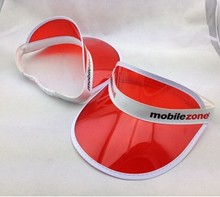 Wholesale Red PVC Plastic Sun Visor Cap With Customized Printing Logo, Transparent PVC Cap,UV Protection Cap