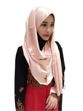 Popular hot sale long islamic scarf south korean satin silk smooth muslim headscarf