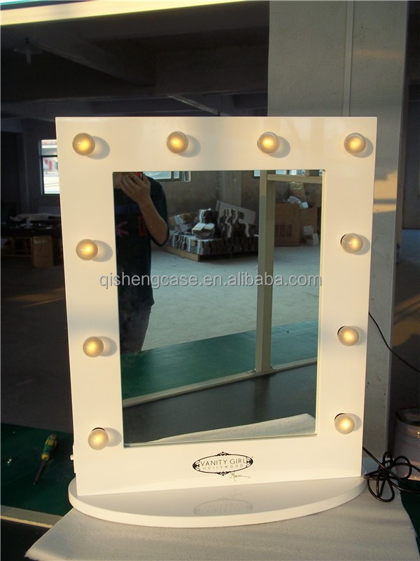lighted makeup vanity hollywood style mirror with lights table top makeup van. Black Bedroom Furniture Sets. Home Design Ideas