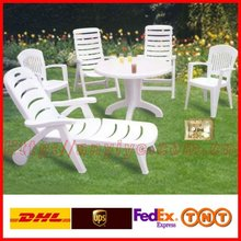 Outdoor portable white plastic tables and chairs