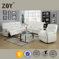 ZOY-91490 White Leather Recliner Sofa Set