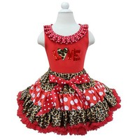 Red Polka Dots Leopard Pettiskirt Plus Leopard Heart LOVE Red Tank Top