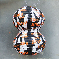 Creative ghost pattern in cylinder paper lantern for Halloween supplies in outdoor decoration