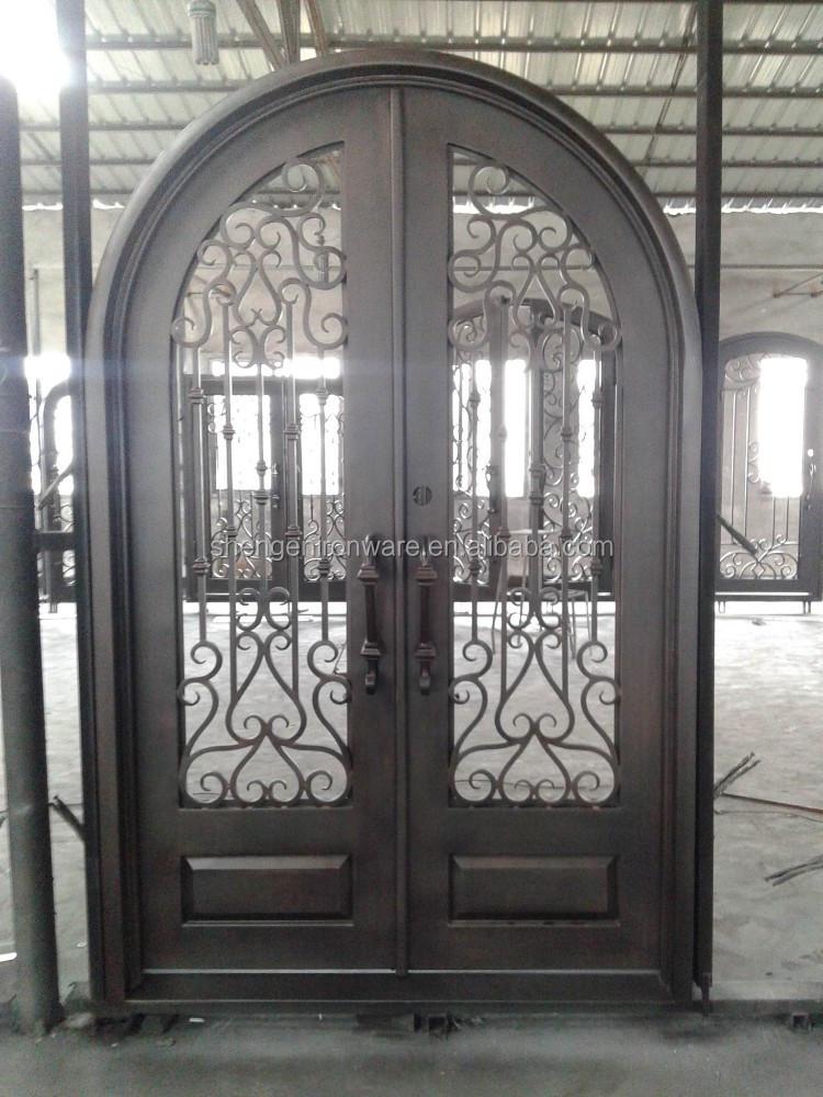 Customized Wrought Iron Door Full Round Top Double Door Se Gd021 Buy Iron