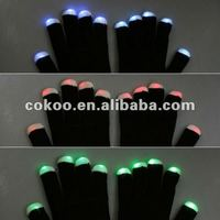 New arrival LED Rave Flashing Gloves 7 Mode Light Up Finger Lighting glove BLACK