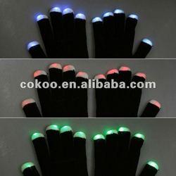 New arrival LED Rave Flashing Gloves 7 Mode Light Up Finger Lighting glove BLACK
