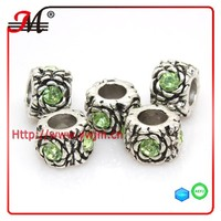 A51024 J&M fashion alloy antique silver plated light green decorative beads