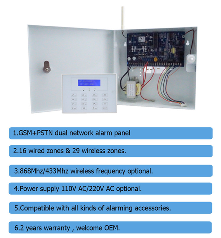 Anti-theft Metal GSM&PSTN 16 wired&29 wireless Panel Security Alarm ...