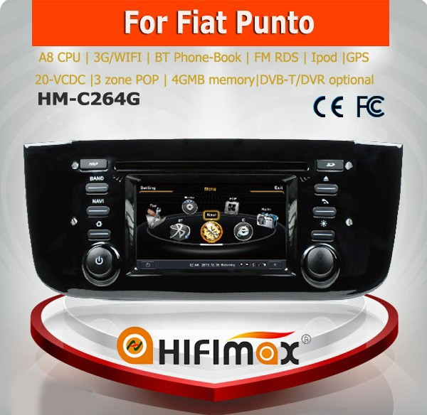 hifimax autoradio per auto fiat grande punto lettore dvd per fiat grande punto con a8 chipset. Black Bedroom Furniture Sets. Home Design Ideas