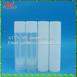 Wholesale 4.5g lip balm packaging container, clear tube with w/white cap