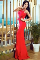 2015 new mermaid evening dress elegant design red lace embellished mermaid evening dress