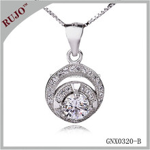 """double """"O"""" silver zircon around 925 sterling silver necklace for girl"""