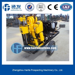 HF200 trailer type water well drilling rig with4 wheels for farm irrigation