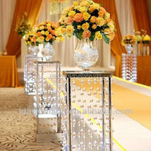 acrylic wedding lighted columns wholesale/crystal beaded columns wedding decorations/events and party supply