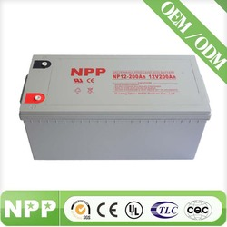 200AH deep cycle 12v rechargeable valve regulated lead acid battery from Guanghzou China