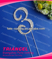 High Quality Crystal Number Cake Topper For Wedding Party