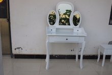 hot sale K/D dressing table with mirror and stool/dresser table with three mirros