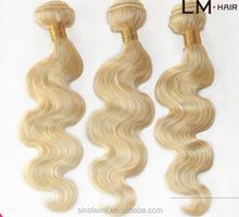 HOT ! 613 color blonde color virgin remy human hair weaving/weave