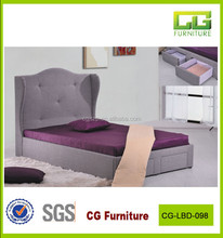 gray farbric bed with two drawer