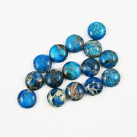 12mm Round Ocean Blue Imperial Jasper beads Cabochon, Sea Sediment Jasper Cabochon