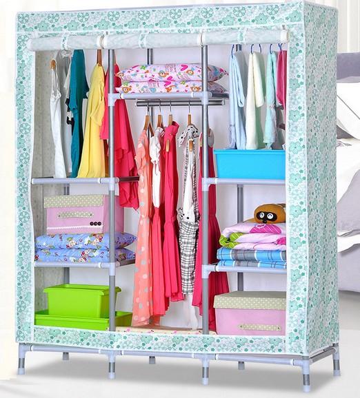 FS 소녀 휴대용 옷장 옷장 주최자 홈 가구 침실-기타 접는 가구 ...