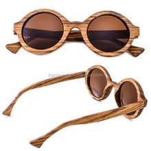 2015 Women Retro Round Zebra Wood Sunglasses Customize Logo MT1022