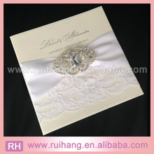 Handmade Wedding Invitation Pocketfold Lace Rustic Satin Bow Any Colour