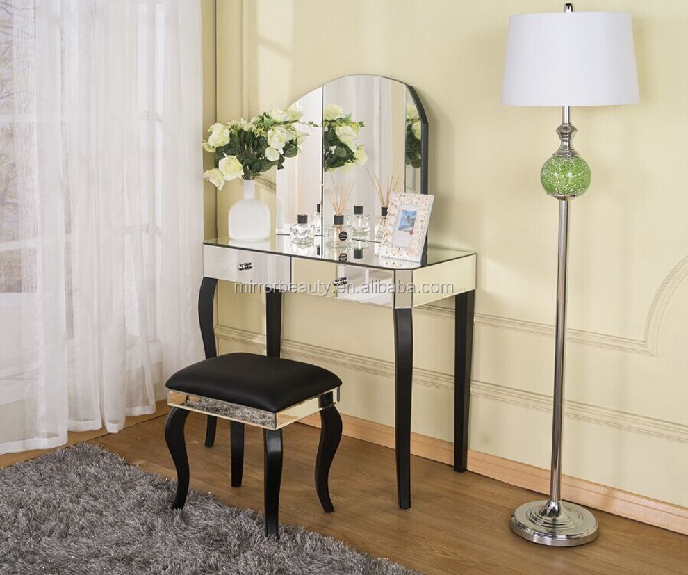 Simple modern wood dressing table with mirrors buy wood for Simple dressing table