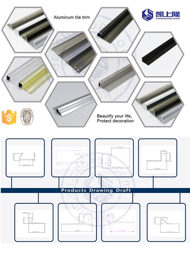 Beautiful Surfaces Tiling Corners Profile Aluminum Quarter Round - Ceramic tile trim shapes