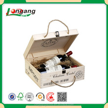 Cheap natural pine rope handle unfinished handmade wooden wine box