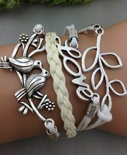 Love & Lucky Branch Leaf and Lovely Birds Charm Bracelet in Silver - cream Wax Cords and Leather 1248 Mini order 10$