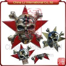 customize halloween gift usb drive, horror skull head usb stick, pirate skull metal usb flash