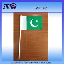 Pakistan hand flag , Pakistan 10-15cm hand waving flag ,Pakistan mini flag with black flagpole
