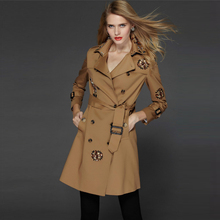 Big brand women's khaki cotton trenday trench coat for girls new runway style OEM service