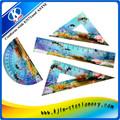 Pcs 4 mar de plástico conjunto de regla para los niños/geométrico conjunto de regla/3d gobernante