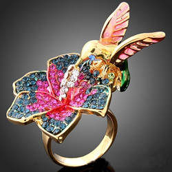 Gorgeous 24K Real Gold Plated Charming Flower and Bird World Design Crystal Rings