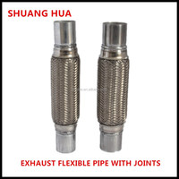 flexible exhaust pipe with joints/ nipples, manufacturing high quality auto exhuast parts