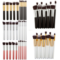 10 Pcs Premium Synthetic Kabuki Makeup Brush Set