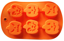 6 cavity halloween pumpkin shaped silicone cake molds