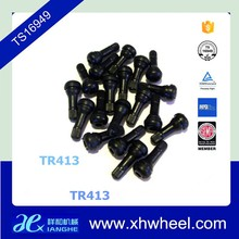 Universal TR413 válvula del neumático a presión tallos cortos de goma negro tapa de la válvula