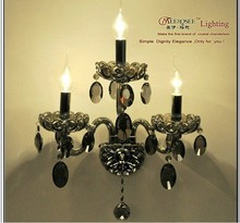 2013 CE&UL Standard New Product Smoky Grey Decorative Crystal Candle Wall Sconces Lighting with 3 Arms MDS09 L3 W380mm H470mm