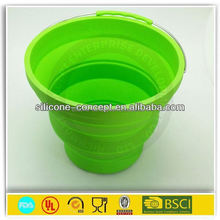green color silicone collapsible pack away bucketcollapsible silicone bucket