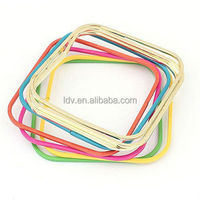 China supplier summer color bangle square bangle Colorful type metal geometry exaggerated personality multilayer bracelet