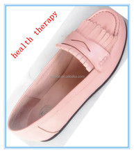 lady pure calf leather flat Shoe -slim,diabetic and massage therapy