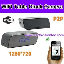 wifi camera, 720P HD, digital clock, app for iphone/android