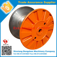 Steel cable reel with pressed flanges and rounded rim