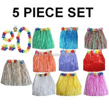 Newest design hawaii costume 5 piece set hawaii hula dance skirt with flower decoration BWG-2087