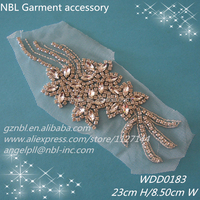 Beaded rhinestone bridal appliques patch for wedding dresses WDD0183
