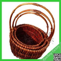 New design antique wicker basket with handle set of 3/ fruit basket decoration