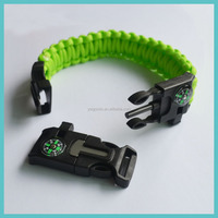 improved multifunction buckle paracord bracelet whistle buckle with fire starter & compass paracord survival bracelet